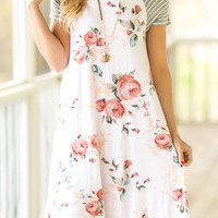 Floral Striped Casual Dress without Necklace - Fairyseason