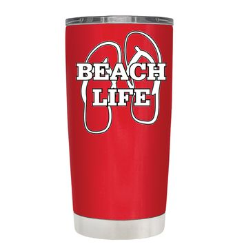 The Beach Life Sandals on Red 20 oz Tumbler Cup
