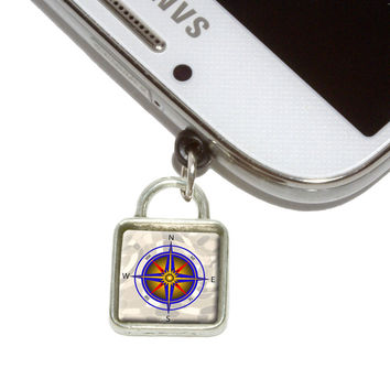 Compass Nautical North South East West Square Mobile Phone Silver Charm