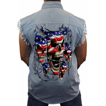 Men's Sleeveless Denim Shirt USA Flag Skulls & Chains Biker