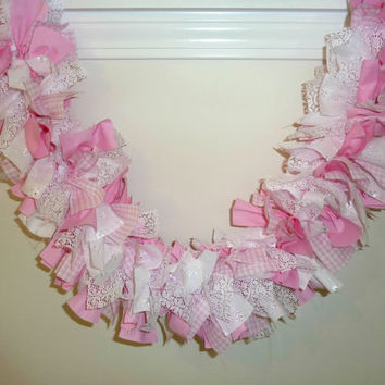Rag Garland Pink Gingham Lace Fabric Baby Shower It's a Girl 6 Feet