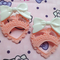Cute Pink and White Kitsch Sweetheart Stud Earrings