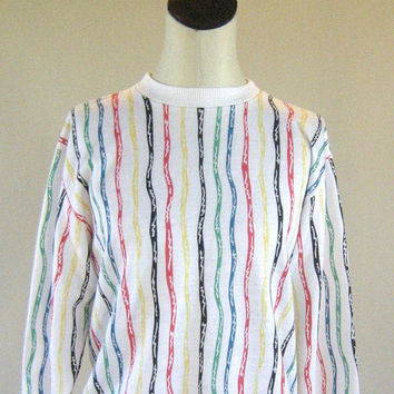 1980s Squiggly Striped Blair Sweater Shirt Top