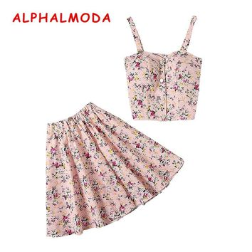 ALPHALMODA New Arrived Single Breasted Floral Tank Top + Mini Skirt Women 2pcs Summer Sets Stretchy Crop Top Boho Skirt Suits