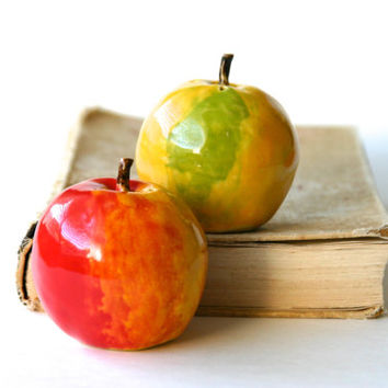 Salt & Pepper Shakers -  Handmade Fall Apples - Kitchen Table Home Decor - OOAK