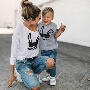 Mother and daughter son t-shirt family matching