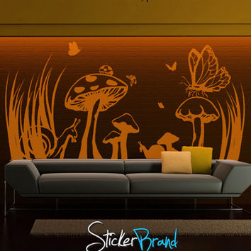 Vinyl Wall Decal Sticker Floral Mushroom Field #GFoster149
