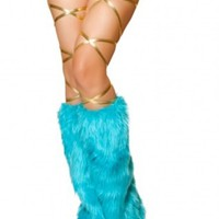 Turquoise Furry Leg Warmer Rave Accessories