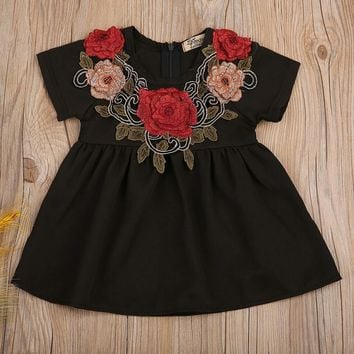 Black Dress with Rose Collar