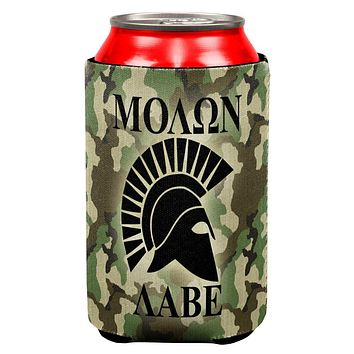 Molon Labe Greek Spartan Helmet Woodland Camo All Over Can Cooler