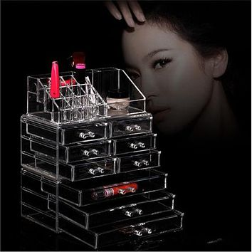 Makeup Cosmetics Jewelry Organizer Clear Acrylic 9 Drawers Lipstick Display Box