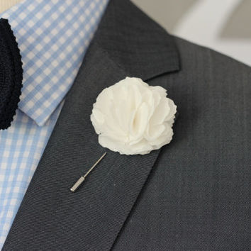 BIG White Linen Carnation, Harrison Ford style, mens wedding boutonniere, groomsmen lapel pin, mens lapel flower