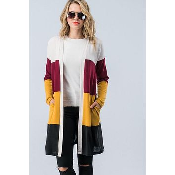 Casual Color Block Cardigan - Mustard