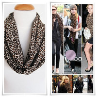 Infinity Leopard Cotton Scarf, Elegant Scarf, Loop Scarf, Gift