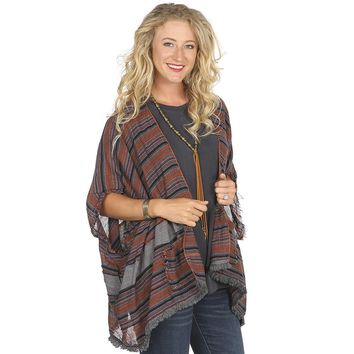 Women's Hyku Clothing Multi Shade Rust Poncho