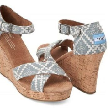 Toms Women's Strappy Wedges Denim Embroidered