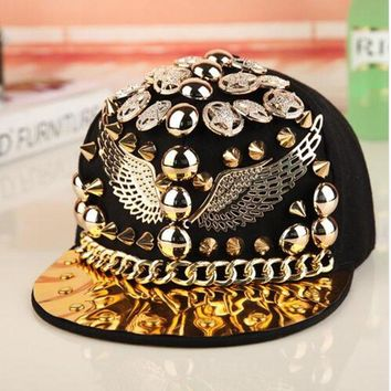 Trendy Winter Jacket high quality Bigbang personality jazz hat snapback cap Men/ Women Spike Studs Rivet Cap Hat Punk style Rock Hip hop cap Pick AT_92_12