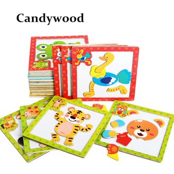 Children 3D Magnetic Puzzle Jigsaw Wooden Toys Cartoon Animals Traffic Puzzles Tangram Kids Educational Toy for Children