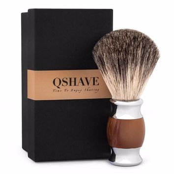 Men's Sophisticated Q-Shave 100% Deluxe Badger Shaving Brush