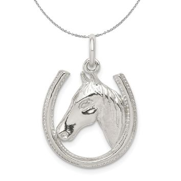 Sterling Silver Polished Horseshoe and Horse Head Necklace