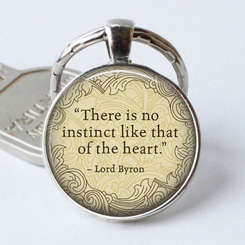 "LORD BYRON Keychain Quote ""There Is No Instinct.... "" Pendant Poem Art Literature GlassBook Cabochon Jewerly Key Chain Ring Gift"