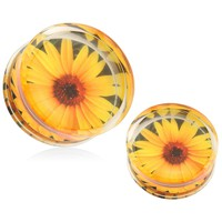12mm Print SunFlower Acrylic Sun Flower Double Flare Saddle Plugs (2 Pieces)