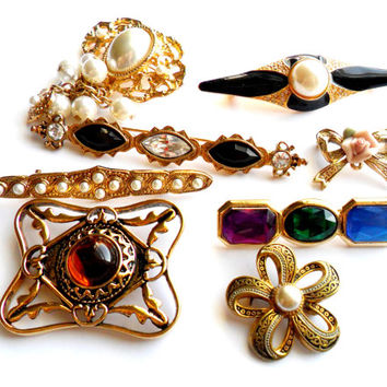 Rhinestones and Cabochons Brooch Lot Vintage Instant Collection Faux Pearl Bar Enamel Signed Marked Marvella Damascene Spain Bow Flower Gold
