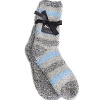 Striped/Solid 2pr Fuzzy Sock