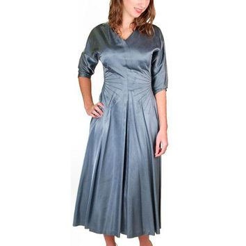 Vintage Steel Blue Satin Cocktail Gown 1940'S 34-24-Free Unique Waistline