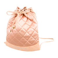 Chanel Quilted Satin Backpack