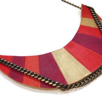 Red and gold leather statement necklace,Painted Aztec necklace, Chevron Necklace, Art Deco necklace, tribal necklace, boho necklace
