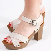 Strappy Wedge, Beige