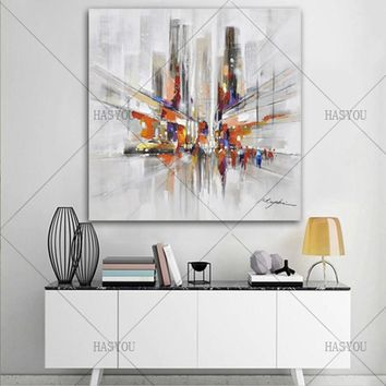 Modern Wall Art Oil Painting Canvas Painting New York City Fashion Wall Pictures For Living Room Home Decor Rain Shopping Street