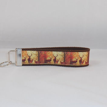Keychain Wristlet Made With Deer and Nature Inspired Ribbon Great For Inexpensive Gift Or Stocking Stuffer
