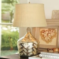 Etched Fern Mercury Glass Table Lamp