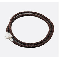 European Charm Braided Brown Leather Bracelet Double Wrap Silver Plate Clasp 39 cm