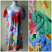 80s bright FLORAL dress vintage ruffle summer sundress size XXL extra extra large hippie boho oversized rayon festival dresses 1980s flowers