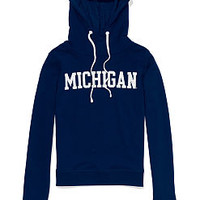 University of Michigan Bling Funnel-neck Hoodie - PINK - Victoria's Secret