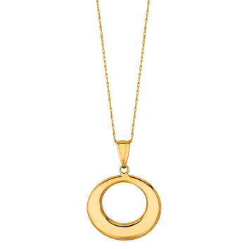 14K Yellow Gold Graduated Open Circle Pendant On 18 Inch Necklace