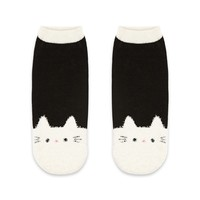 Fuzzy Cat Print Ankle Socks