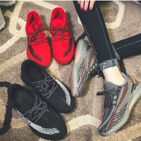 """""""Yeezy"""" Fashion Casual Male Female Popcorn Breathable Comfortable Fly Weave Couple Sneakers Running Shoes"""