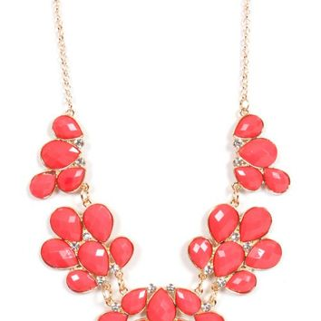 Fun In Forever Coral Floral Statement Necklace | Monday Dress Boutique