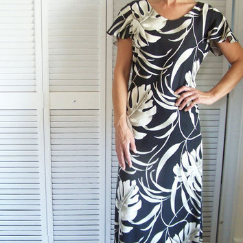 Vintage Maxi Dress Silk Black and White Tori Richards Hawaiian Honolulu Size 10