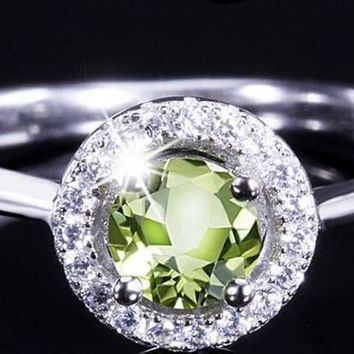 Luxurious Green Natural Olivine, with cubic zirconia, Sterling Silver Ring