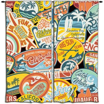 Surfer Bedding California Vintage Surf Stickers Curtains