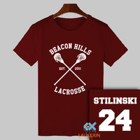 Summer Teen Wolf T-shirt Stiles Stilinski 24 Tshirt BEACON HILLS LACROSSE Tops Tee Shirts TeenWolf Funny T Shirt Women Men