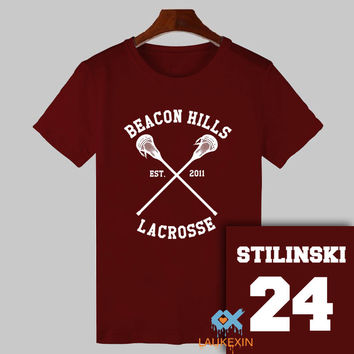 2016 Summer Teen Wolf T-shirt Stiles Stilinski 24 Tshirt BEACON HILLS LACROSSE Tops Tee Shirts TeenWolf Funny T Shirt Women Men