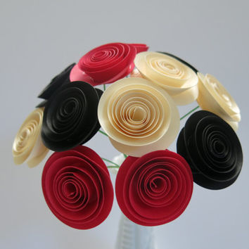 "Black, Red and Ivory paper 1.5"" flowers for vase, most popular wedding centerpiece, Best selling party supply, Bridal shower decoration"