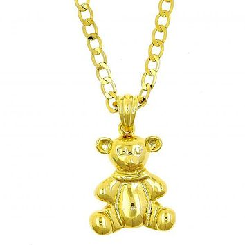 Gold Layered 04.118.0091.24 Fancy Necklace, Teddy Bear Design, Polished Finish, Gold Tone