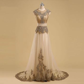 Long Evening Dresses Cap Sleeve Beaded Applique Lace Prom Gowns